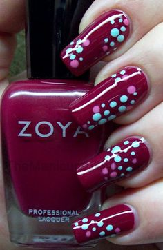 The Manicured Manatee bright dots on plum nail art design Dot Nail Art, Polka Dot Nails, Polka Dots, Fabulous Nails, Gorgeous Nails, Nail Polish Designs, Nail Art Designs, Zoya Nail Polish Reviews, Manicure Y Pedicure
