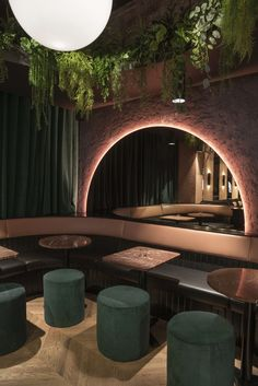 A former Montreal auto repair shop turns tropically-themed restaurant and bar wi. : A former Montreal auto repair shop turns tropically-themed restaurant and bar with an air of subtle sophistication and moody allure… – Design Exterior, Salon Interior Design, Design Hotel, Interior Ideas, Interior Tropical, Design Tropical, Design Bar Restaurant, Deco Restaurant, Colorful Restaurant