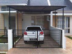 Desain Garasi Mobil Rumah Minimalis Porch, Garage Doors, Architecture, Interior, Outdoor Decor, Modern, Home Decor, Arya, Ceilings
