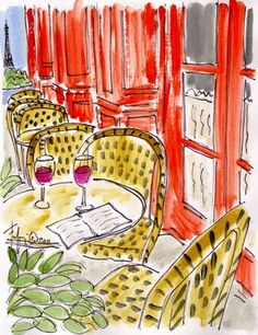 """""""Orange Eiffel Cafe""""  SO many beautiful works of art with a Parisian flair on this site! I want them all!"""