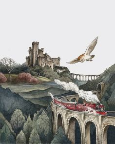 Art Prints by Lily Seika Jones Harry Potter Hogwarts express Classe Harry Potter, Arte Do Harry Potter, Harry Potter Artwork, Images Harry Potter, Harry Potter Drawings, Harry Potter Room, Harry Potter Wallpaper, Harry Potter Fan Art, Harry Potter World