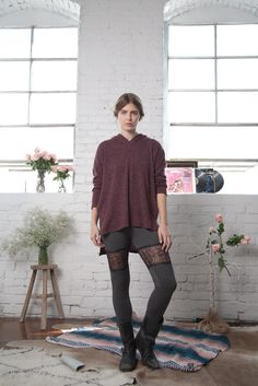 Hooded Knit Tunic with Wool Shorts and Patchwork Lace Ribbed Tights