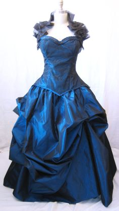 Bustle skirt Steampunk skirt blue skirt