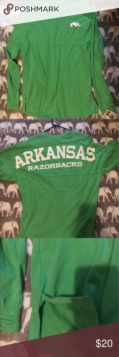Razorbacks spirit jersey New with tags - Has small slits on each side - one of the slits is torn slightly - could be easily repaired - Thumb hole details Pressbox Tops Tees - Long Sleeve