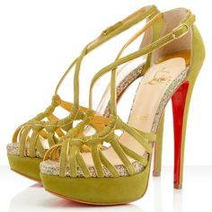 Christian Louboutin Mignons Suede/Glitter Sandals 140mm Suede/Gl