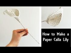 How to Make a Paper Calla Lily, Easy DIY Flowers, Book Page Craft Tutorial, Wedding Bouquet Origami Flowers Tutorial, Flower Tutorial, Diy Tutorial, Origami Instructions, How To Make Paper Flowers, Paper Flowers Diy, Craft Flowers, Flower Diy, Folded Book Art