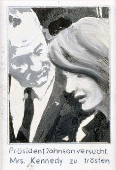Präsident Johnson versucht Mrs. Kennedy zu trösten (President Johnson consoles Mrs. Kennedy) 1963, 12.7 cm x 8.9 cm, Oil on canvas mounted on card