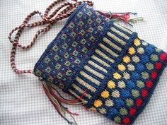 Dots and Stripes purse - knit in the round and with a nice braided strap - pattern by Patti Henry