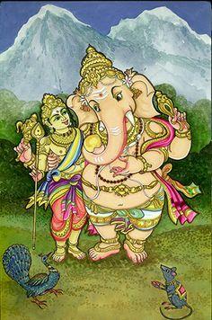 Art & Photos - Loving Ganesha: Ganesha and Muruga Shiva Art, Ganesha Art, Hindu Art, Lord Ganesha, Shri Ganesh, Hanuman, Lord Krishna, Mysore Painting, Tanjore Painting