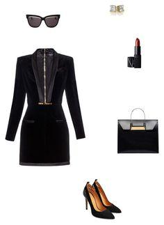 """black"" by nikolmoustakiditsa ❤ liked on Polyvore featuring Balmain, Balenciaga, Christian Dior and NARS Cosmetics"