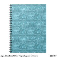 Aqua Glam Faux Glitter Stripes Notebook