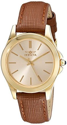 Invicta Womens 15150 Angel 18k Yellow Gold IonPlated Stainless Steel and Brown Leather Watch -- Click on the image for additional details.