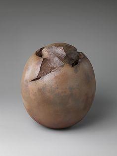 Flower Container, Kaneta Masanao  (Japanese, born 1953; active Yamaguchi); 2003; Japan; Stoneware with brown glaze; Hagi ware (© Kaneta Masanao)