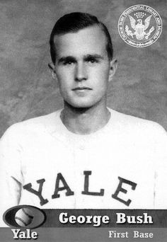 Hello Mr President! George H.W. Bush's Baseball photo from his time at Yale. #president #firstbase