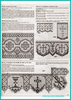 Esquemas para barrados de crochê. Crochet Lace Edging, Crochet Borders, Crochet Cross, Thread Crochet, Irish Crochet, Cross Patterns, Stitch Patterns, Catholic Crafts, Crochet Edgings