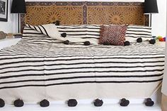 Moroccan Pom Pom Blanket Throw Bedspread, Hand woven with Pure Organic Hand Spun Wool, Cozy Warm Bedding, Ivory White & Brown. (BW5) - Moroccophile Souk - 1