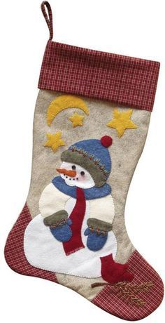 Rachels of Greenfield Snowman Christmas Stocking - Felt Applique Kit. Snowman Stocking - Hanging the Christmas stocking is even more special when the stocking i Diy Stockings, Felt Christmas Stockings, Christmas Stocking Pattern, Felt Stocking, Christmas Applique, Christmas Sewing, Christmas Snowman, Handmade Christmas, Christmas Crafts