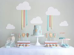 Baby birthday party inspiration...but now take that cloud with the ribbons and translate it into a simple barrette holder. La!