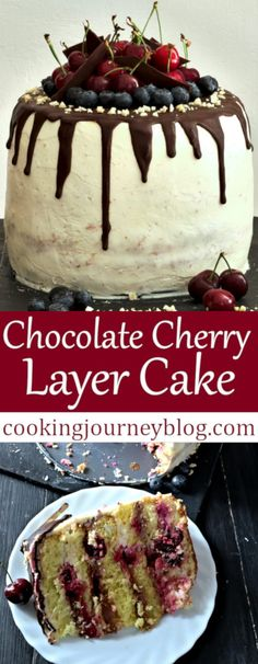 Delicious chocolate cherry cake recipe is the ultimate Birthday cake! It consists of three sponges and five layers of of cream cheese, chocolate, cherries and cherry sauce. You will learn how to make this recipe from scratch. This moist cherry cake is tall, looks beautiful and tastes awesome! Moreover, it is suitable for vegetarians. #cherry #cake #cakedecorating #chocolatecake #birthdaycakes #birthdayparty #vegetarianrecipes