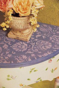 Cute stenciled table. Use a damask stencil and flower stencils | Small Allover Brocade Stencil | Royal Design Studio