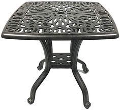 AmazonSmile : Patio End Table 21 Square Cast Aluminum Outdoor Furniture Desert Bronze : Garden & Outdoor