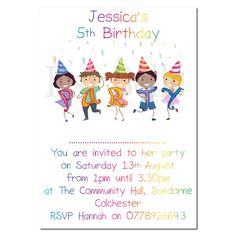 Personalised Invite Childrens Birthday Party Invitations Rainbow Party SIlk