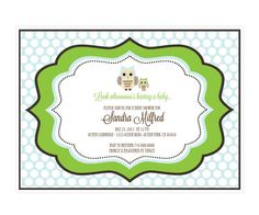 """Blue Owl Invitations. Gather your friends and family together for a special baby shower with these personalized Blue Owl Invitations. Guests will delight in the adorable owl designs and unique wood inspired background. Customize your invitations to suit your event and build your baby shower decor around this stylish theme. Invitations include plain white envelopes. Due to the personalization for this product, the minimum order is 16. Size: 4.6"""" x 6.25"""""""