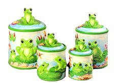Frog 4 Piece Canister Set: Kitchen & Dining