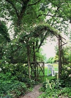 An arbor utilizing branches from the woods. A true recycle, DIY project.