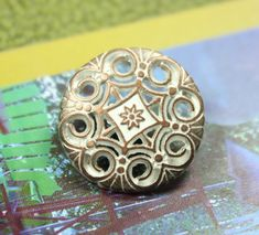Swirl and Flower Metal Buttons , Copper White Color , Shank , 0.79 inch , 10 pcs by Lyanwood, $6.00