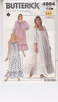 d13f4b98dd Robe NIghtgown Very Loose Fit Flared Ruffles Misses Butterick Pattern 4864  6-10 Night Gown
