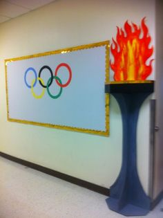 how to create an olympic torch foamboard and hot glue breanna cookebreanna 2 Office Olympics, Summer Olympics, Special Olympics, School Themes, Classroom Themes, Olympic Idea, Olympic Games, Olympic Crafts, Adult Party Themes