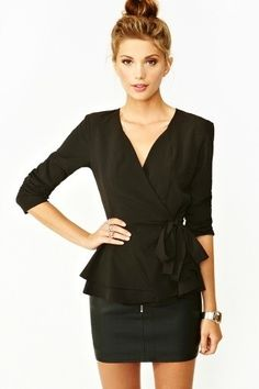 silk wrap Peplum for boyish figures