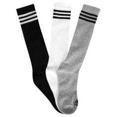 Meia Adidas Knee 3S Hc Pacote C/ 3 Pares - Branco+Cinza