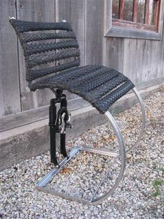 Chair made from recycled bicycle tires