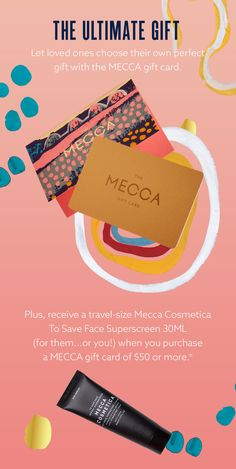 MECCA | Shop Gift Cards and eGift Cards Mecca Cosmetica, The Ultimate Gift, Gift Cards, Travel Size Products, Gift Guide, First Love, Gifts, Shopping, Gift Vouchers