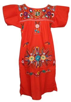 This is a Traditional Floral Mexican dress. This dress features beautiful hand-embroidered floral designs. This dress is also known as a Peasant dress or Puebla Dress. Mexican Embroidered Dress, Mexican Embroidery, Embroidery Dress, Traditional Mexican Dress, Traditional Dresses, Casual Dresses For Women, Dresses For Sale, Fiesta Dress, Mexican Dresses