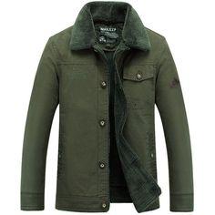 Men's Warm Thick Button-Front Cotton Jeep Fashion Jacket M-4XL 3 Colors