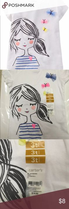 Carter's Butterfly T-Shirt 3D size 3T NWT Blue Wht Carter's White T-shirt Tee for Little Girls Toddler 3T Short Sleeve Butterflies NIB Ship Fast   Features: Graphic Product Description: Carters Graphic Tee (Toddler/Kid) - 3 D butterfly t-shirt . Product note: small discoloration on lower right. Can be easily washed. We wanted to keep tags on, otherwise we would have washed. Please see photo. Carter's Shirts & Tops Tees - Short Sleeve