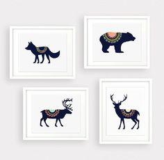 Wolf Deer Bear Moose Tribal 4 Digital Art Print Instant Download, Forest Art Print, Nursery Art Print Wall Art , Tribal Art, Mountain Decor
