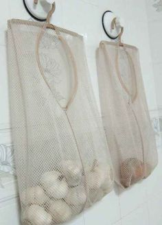 Mesh laundry bags are a great way to store produce that should be ventilated.