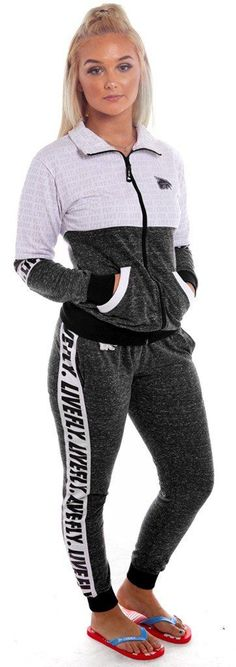 LIVE FLY. Worldwide Zip-Up Outfit: Heather Black/White