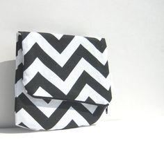 Chevron FoldOver Clutch Medium Purse Zipper by SmiLeaGainCreations, $20.00