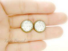 Sparkle -silver antique brass post earrings