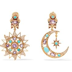 Percossi Papi Gold-plated multi-stone earrings (€975) ❤ liked on Polyvore featuring jewelry, earrings, star jewelry, clasp earrings, gold plated jewellery, gold plated earrings and earring jewelry