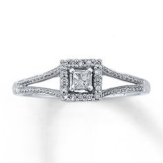 Diamond Promise Ring 1/8 ct tw Princess-cut  10K White Gold....so pretty
