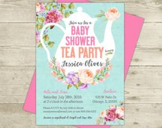Tea Party Baby Shower Invitation - Floral - Shabby - Girl Baby Shower - Pink and Blue