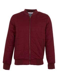 Burgundy Quilted Bomber Jacket - Bomber Jackets - Men's Coats & Jackets  - Clothing