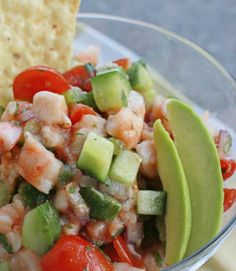 Diced veggies and fresh seafood make this avocado and shrimp ceviche recipe a perfect addition to a lean diet. Just add some jalapeno to taste and chow down! - Everyday Dishes & DIY