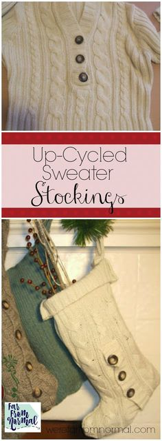 Have an old sweater laying around? Make it into a beautiful Christmas stocking! These are a great addition to your decorating or an awesome way to give a gift!